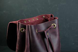 Кожаный рюкзак на затяжках с свободным клапаном Винтажная кожа цвет Бордо, фото 3