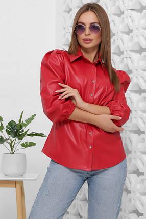 Стильная женская блуза из эко-кожи 1854, фото 2