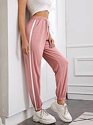 Спортивні жіночі штани рожеві/чорні з лампасом