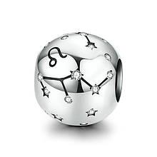 "Шарм ""Знак зодиака Лев"" серебро 925 проба, кубический цирконий"
