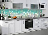 Кухонный фартук виниловый Полевые цветы Акварельные (ПВХ наклейка пленка скинали для кухни) бирюза 600*2500 мм