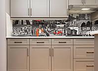 Кухонный фартук Город Коллаж виниловый самоклеющийся (ПВХ наклейка пленка скинали для кухни) серый 600*2500 мм, фото 1