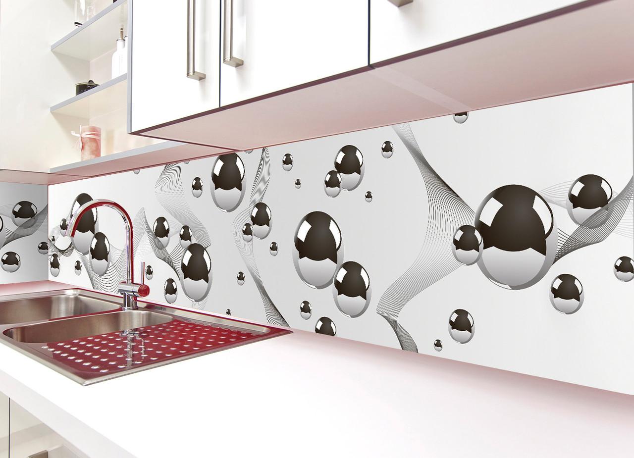 Кухонный фартук виниловый Стальные шары Геометрия ПВХ наклейка пленка скинали для кухни серый 600*2500 мм
