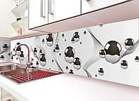 Кухонный фартук виниловый Стальные шары Геометрия (ПВХ наклейка пленка скинали для кухни) серый 600*2500 мм