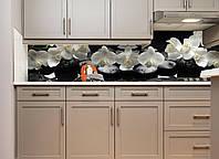 Кухонный фартук виниловый Белые орхидеи на черном фоне (ПВХ наклейка пленка скинали для кухни) 600*2500 мм