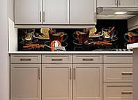 Кухонный фартук Чай специи виниловый самоклеющийся (ПВХ наклейка пленка скинали для кухни) черный 600*2500 мм