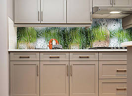 Кухонний фартух Вода Дощ на склі вініловий ПВХ наклейка плівка скіналі для кухні зелений 600*2500 мм