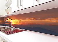 Кухонный фартук Закат солнца в горах виниловый (ПВХ наклейка пленка скинали для кухни) коричневый 600*2500 мм