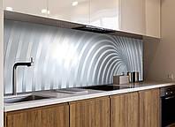 Кухонный фартук виниловый Дуги Абстракция линии (ПВХ наклейка пленка скинали для кухни) серый 600*2500 мм