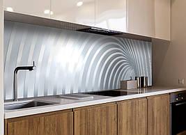 Кухонний фартух вініловий Дуги Абстракція лінії ПВХ наклейка плівка скіналі для кухні сірий 600*2500 мм