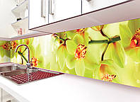 Кухонный фартук Орхидеи Тигровые виниловый цветы (ПВХ наклейка пленка скинали для кухни), желтый 600*2500 мм