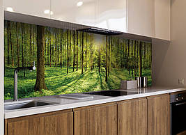 Кухонный фартук Лес Лучи Солнца деревья трава виниловый ПВХ наклейка скинали для кухни зеленый 600*2500 мм