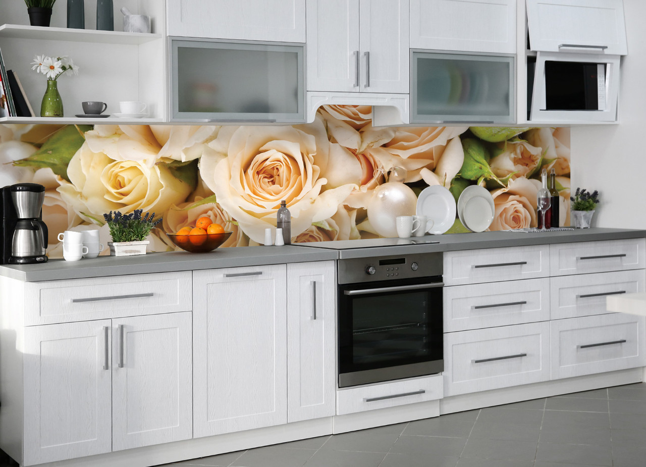 Кухонный фартук Роза беж виниловый самоклеющийся цветы розы ПВХ наклейка пленка скинали для кухни 600*2500 мм