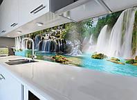 Кухонный фартук виниловый Водопад тропический (ПВХ наклейка пленка скинали для кухни) голубой 600*2500 мм