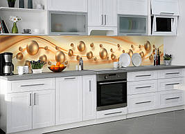 Кухонний фартух вініловий Перли ПВХ наклейка скіналі для кухні куля перлини абстракція бежевий 600*2500 мм