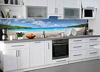 Кухонный фартук виниловый Тропически пляж Баунти (ПВХ наклейка пленка скинали для кухни) голубой 600*2500 мм