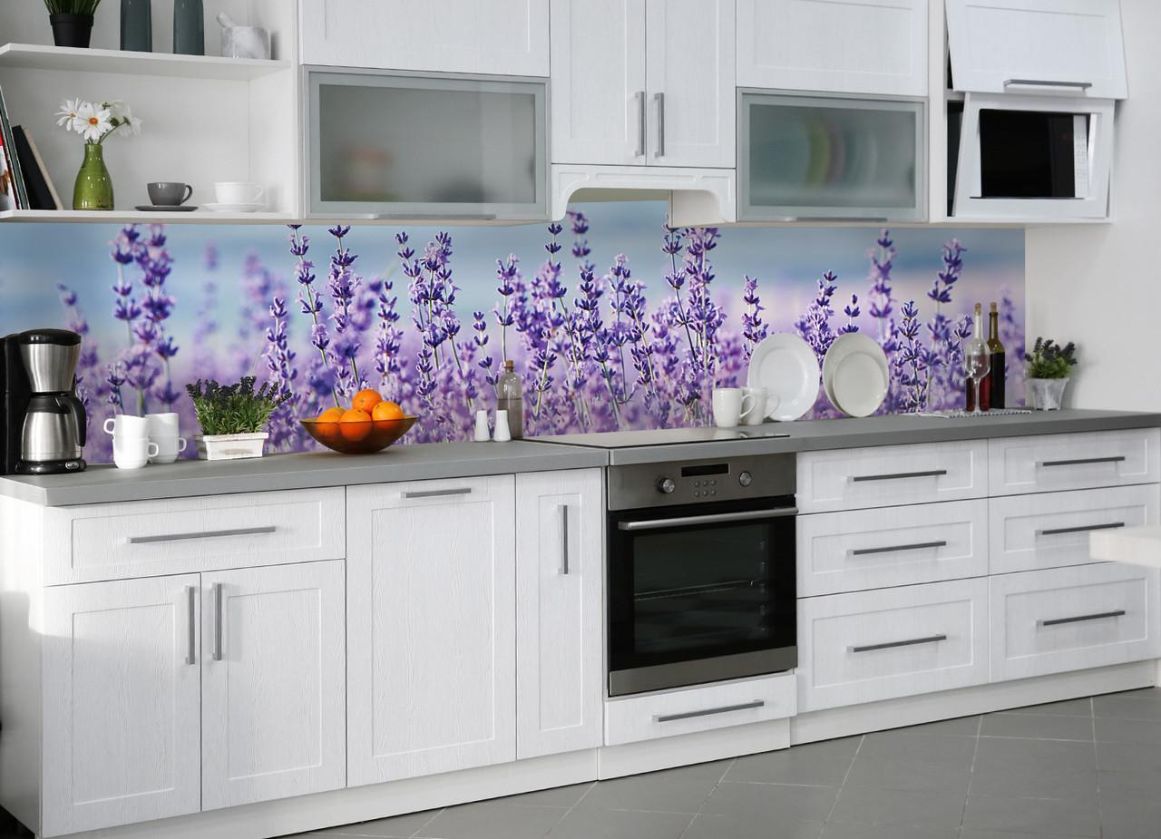 Кухонный фартук виниловый Лаванда (ПВХ наклейка пленка скинали для кухни) цветы фиолетовый Прованс 600*2500 мм