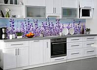 Кухонный фартук виниловый Лаванда (ПВХ наклейка пленка скинали для кухни) цветы фиолетовый Прованс 600*2500 мм, фото 1