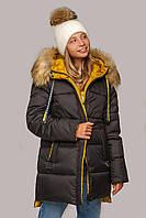 Женская куртка на зиму Лиза с мехом енот, р. 44-56