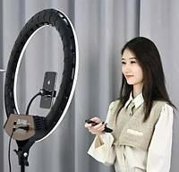 Кольцевая лампа LED ZB-F488 розовая коробка с тремя креплениями для телефона и пультом, 220В, Диаметр 55см