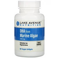 ДГК з морських водоростей, рослинні омега, DHA from Marine Algae Lake Avenue Nutrition 200 мг, 60 таблеток, фото 1