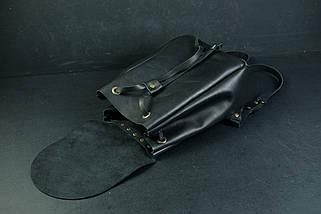 Шкіряний рюкзак на затягуваннях з вільним клапаном Шкіра Італійський краст колір Чорний, фото 2