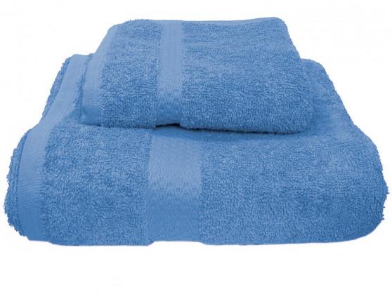 Полотенце махровое с бордюром  50х90 темно-голубое 400 г/м²