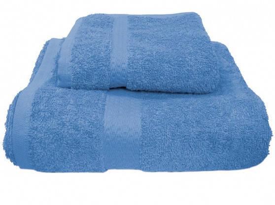 Полотенце махровое с бордюром  50х90 темно-голубое 400 г/м², фото 2