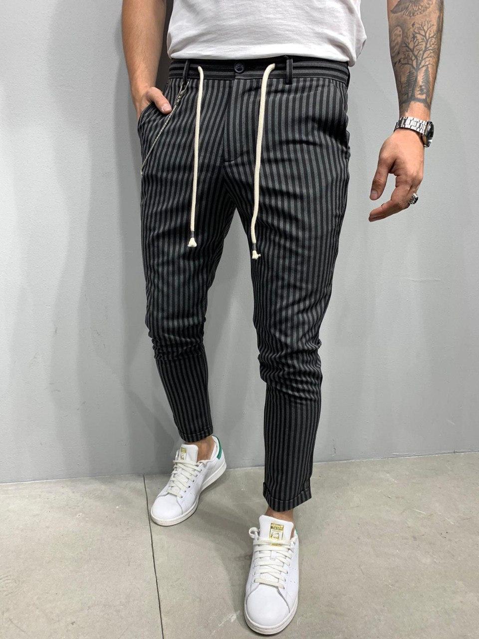 Мужские брюки 2Y Premium P3004 grey/black