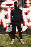 Штаны утеплённые чёрные с красно-белыми лампасами Карра, фото 2