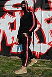 Штаны утеплённые чёрные с красно-белыми лампасами Карра, фото 5