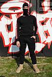 Штаны утеплённые чёрные с красно-белыми лампасами Карра, фото 6