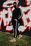 Штаны утеплённые чёрные с бело-чёрными лампасами Карра, фото 3