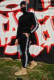 Штаны утеплённые чёрные с бело-чёрными лампасами Карра, фото 7