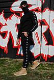 Штаны утеплённые чёрные с чёрно-белыми лампасами Adidas, фото 3