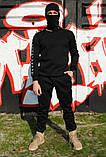Штаны утеплённые чёрные с чёрно-белыми лампасами Adidas, фото 4