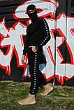 Штаны утеплённые чёрные с чёрно-белыми лампасами Adidas, фото 6