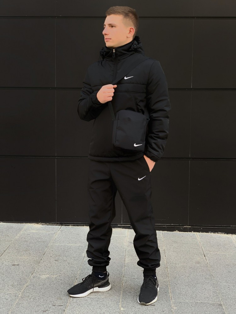Ветровка Анорак чёрный Найк, Nike + Штаны + подарок Барсетка
