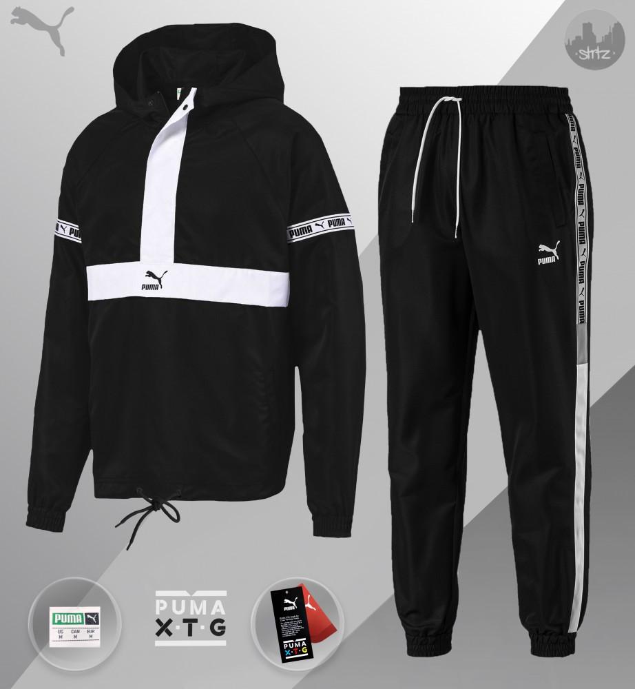 Комплект демисезонный анорак+штаны Puma XTG Woven Set (Чёрно-белый)