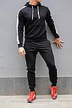 Черный мужской спортивный костюм с белыми лампасами (весна-осень), фото 3
