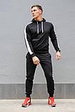 Черный мужской спортивный костюм с белыми лампасами (весна-осень), фото 4