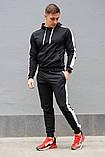 Черный мужской спортивный костюм с белыми лампасами (весна-осень), фото 5