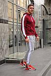 Мужской спортивный костюм - бордо худи с лампасами и серые штаны с лампасами (весна-осень), фото 2