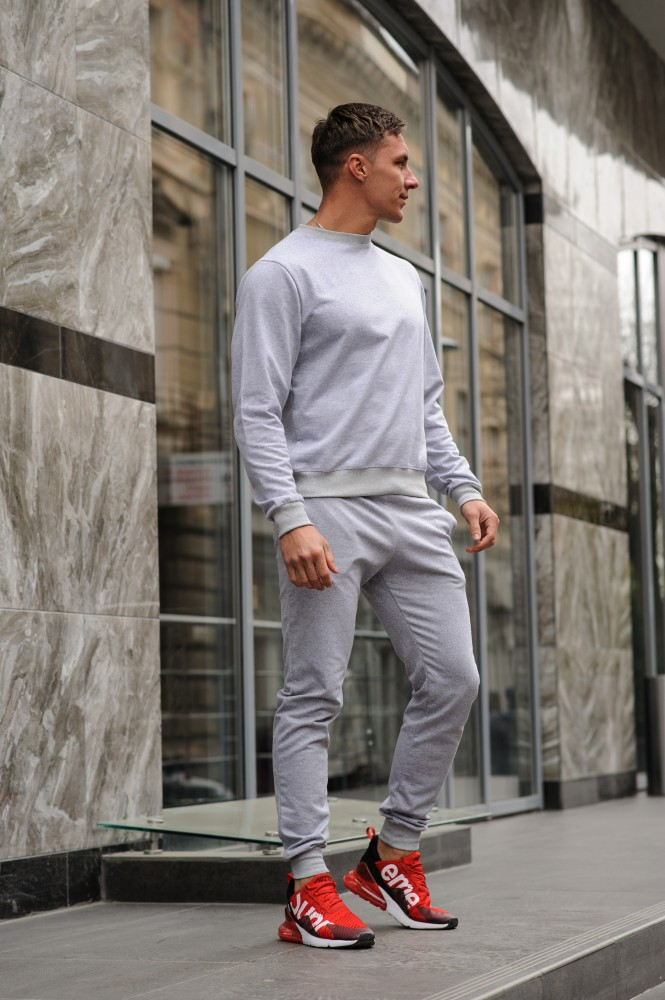 Серый мужской спортивный костюм - свитшот и штаны (весна-осень)