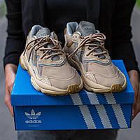Adidas Ozweego беговые кроссовки унисекс бежевые. Кроссы мужские и женские Адидас Озвиго для бега