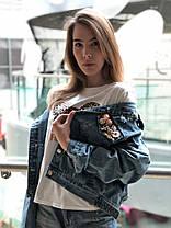 Крутая джинсовая куртка карманам и потертостями, фото 3