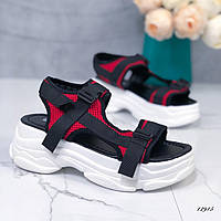 Спортивные босоножки на платформе черный+красный, фото 1