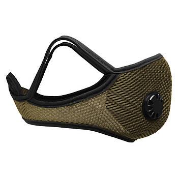 Чёрная защитная маска с клапаном+ 5 сменных фильтров хаки