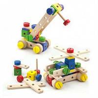 Развивающий набор конструктор для творчества мальчику Viga Toys Набор строительных блоков 53 детали, от 3 лет