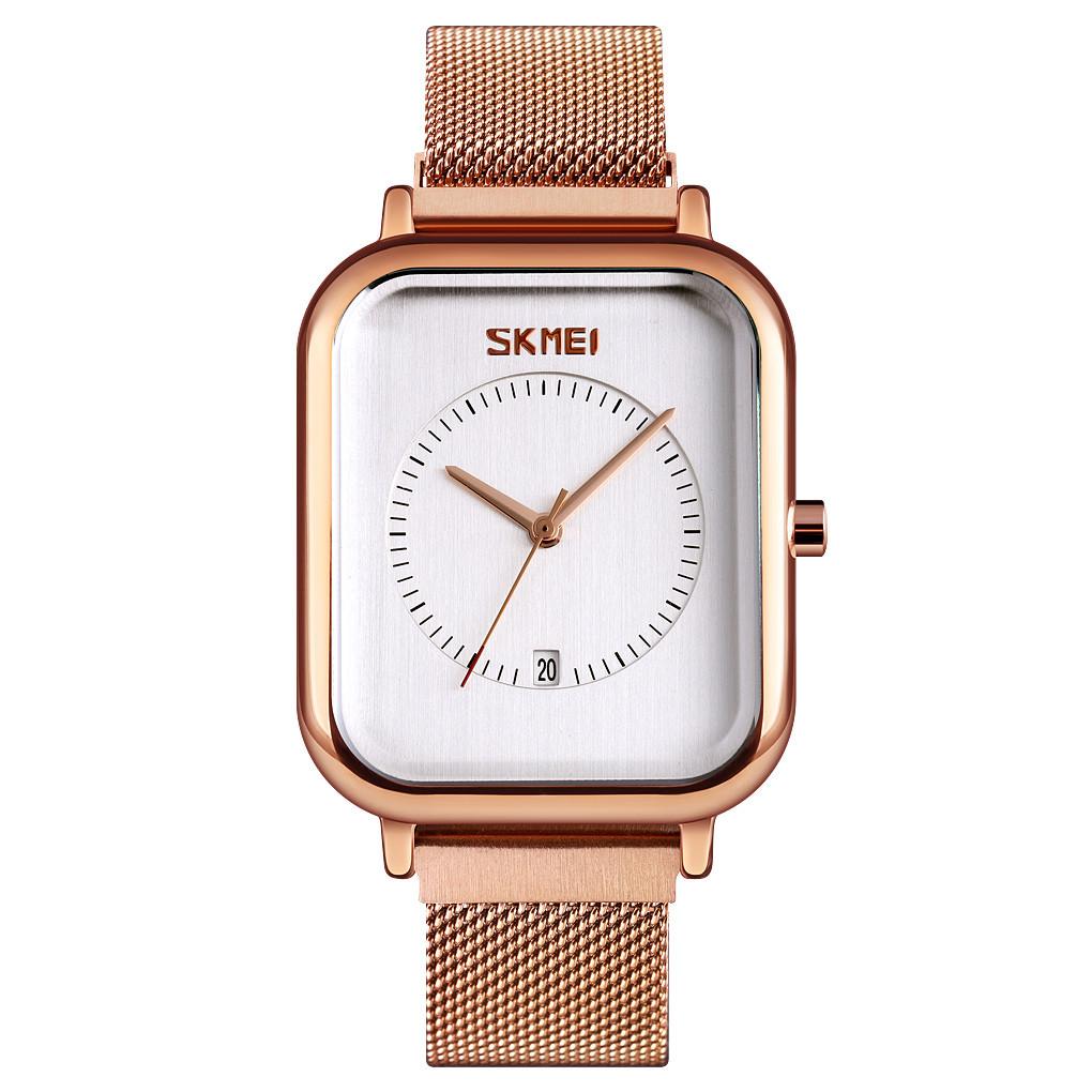 Skmei 9207 золотистые с белым классические наручные часы